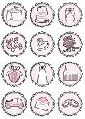 Wedding Cake,Wedding Ring,Wedding Dress,Engagement Ring,Femininity,Icon Set,Envelope,Vintage Car,Confetti,Church,Marquee Tent,Bouquet,Champagne,Cake Tier,Circle,Vector,Icing,Pink Color,Clip Art,Ribbon,Ribbon,Celebratory Toast,Food,Ceremony,Gift,Ilustration,Glass,Weddings,Holidays And Celebrations,Vector Icons,Clothing,Illustrations And Vector Art