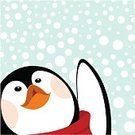 Penguin,Christmas,Cute,Winter,Animal,Snow,Bird,Vector,Snowflake,Ilustration,Humor,Scarf,Ice,Blue,Smiley Face,Animal Head,Smiling,Beak,Cold - Termperature,Wing,Fun,Hope,Joy,Design,Looking,Nature,Holidays And Celebrations,Illustrations And Vector Art,Snowing,Christmas,Copy Space,Winter