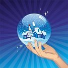 Snow Globe,Christmas,Village,Human Hand,House,Snow,Palm,Tree,Vector,Holding,Sphere,Winter,Roof,Snowdrift,Holiday,Blue,Glass - Material,Christmas Ornament,Decoration,Snowing,Human Finger,White,Holiday Symbols,Design,Christmas,Illustrations And Vector Art,December,Holidays And Celebrations,Star Shape