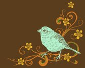 Bird,Single Flower,Swirl,Drawing - Art Product,Finch,Blue,Drawing - Activity,Ilustration,Computer Graphic,Brown,hand drawn,Vector,Pencil,Ink,Fun,Beautiful,Pen And Ink,Color Image,Cute,Wing,Beauty In Nature,No People,Design Element,Retro Colors,Concepts And Ideas,Single Color,Coffee Color,Animals And Pets,Beak,Vector Cartoons,Birds,Illustrations And Vector Art,graphic element