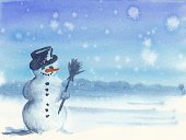 Snowman,Christmas,Landscape,Winter,Watercolor Painting,Snowflake,Paintings,Snow,Holiday,Sky,Blue,Frost,Season,Painted Image,Cold - Termperature,White,Holiday Backgrounds,Christmas,Holidays And Celebrations,Smiling