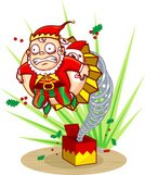 Jack-in-the-Box,Elf,Springs,Christmas,Workshop,Toy,Surprise,Fear,Holiday,Wind-up Toy,Vector Cartoons,Christmas,Illustrations And Vector Art,Holly,Holidays And Celebrations