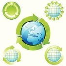 Recycling,Recycling Symbol,Globe - Man Made Object,Earth,Green Color,Arrow Symbol,Sphere,Environment,Planet - Space,Symbol,Circle,Nature,Environmental Conservation,Vector,Ilustration,Computer Icon,Icon Set,Europe,Leaf,Illustrations And Vector Art,Shiny,3d object