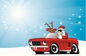 Car,Santa Claus,Christmas,Driving,Cartoon,Winter,Snow,Convertible,Ford Mustang,Rudolph The Red-nosed Reindeer,Fun,Vector,Ilustration,Collector's Car,1960s Style,Snowflake,Sunglasses,Horizontal,Color Image,Transportation,Christmas,Holidays And Celebrations,Illustrations And Vector Art,Copy Space