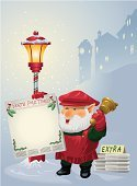 Christmas,Newspaper,Village,Invitation,North Pole,Holiday,Snow,Town Crier,Town,Bell,Lighting Equipment,Good News,Electric Lamp,vector art,Celebration,Ringing,Christmas,Announcement Message,Holidays And Celebrations,Digitally Generated Image,Holiday Backgrounds,Message,Messenger,Glowing,street corner