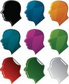 Human Head,Profile View,Symbol,Silhouette,Multi Colored,Side View,Male,Label,Unrecognizable Person,Back Lit,Shiny,Only Men,Curled Up