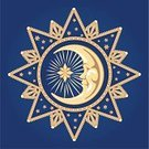 Moon,Astrology Sign,Star - Space,Star Chart,Man in the Moon,Human Face,Magic,Star Shape,Space,Astronomy,Spirituality,Blue,Ilustration,Vector,Decoration,Men,Fantasy,Gold Colored,Ornate,Vector Ornaments,Illustrations And Vector Art