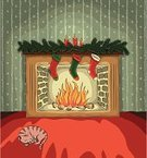 Fireplace,Christmas,Domestic Cat,Christmas Stocking,Domestic Room,Sleeping,Log Fire,Fire - Natural Phenomenon,Drawing - Art Product,Indoors,Ilustration,Vector,Sketch,Candle,Christmas,Holidays And Celebrations,No People,Tranquil Scene,Illustrations And Vector Art