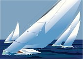 Sailing,Regatta,Yacht,Nautical Vessel,Competition,Wave,Teamwork,Sport,Sports Team,cowes,Wind,Speed,Direction,Summer,Water,Sea,Success,Fun,Landscape,Hull,Vacations,Leisure Activity,Illustrations And Vector Art,Vector Cartoons,Holidays,Nature,Sports And Fitness,Blue,Sky,Travel Locations