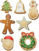 Christmas,Cookie,Food,Santa Claus,Gingerbread Man,Snowman,Wreath,Christmas Tree,Vector,Green Color,Sprinkles,Icing,Red,Multi Colored,Dessert,Star Shape,christmas cookies,Brown,Baking,Christmas,Holidays And Celebrations,Variation,Isolated On White,White,Food And Drink,Illustrations And Vector Art