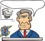 Newscaster,Toilet,Cartoon,The Media,Journalist,Human Hair,caption,News Event,Television Set,TV Reporter,Broadcasting,Talking,Suit,Senior Adult,Men,Frowning,Sitting,Sign,Illustrations And Vector Art,Discussion,Business People,Business,People,Gray Hair,Tie,Vector Cartoons,Negative Emotion,Negative Image,Red,Blue,Communication