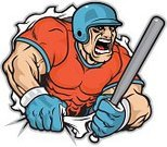 Softball,Baseball Bat,Batting,Sport,Tearing,Human Muscle,Vector,Ilustration,Aggression,Muscular Build,Strength,Team Sports,Competition,Vector Cartoons,Sports And Fitness,Isolated,White Background,Sports Helmet,Team Sport,Illustrations And Vector Art