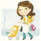 Mother,Baby,Cartoon,Women,Shopping,Child,Family,Vector,Baby Stroller,Groceries,Stereotypical Housewife,Ilustration,Characters,Modern,Cute,Cheerful,Female,Cool,Parent,Retail,Brown Hair,Winter,Shopping Bag,Sunglasses,Beautiful,Femininity,Clip Art,Retail Display,Outdoors,Togetherness,Families,Consumerism,Concepts And Ideas,Lifestyle,Modern Life