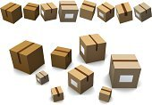 Box - Container,Package,Moving Office,Shipping,Three-dimensional Shape,Relocation,Moving House,Cardboard Box,Storage Compartment,Gift,Vector,Ilustration,No People,Isolated On White