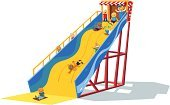 Slide - Play Equipment,Amusement Park,Amusement Park Ride,Sliding,Child,Large,Fun,Playground,Ilustration,Cartoon,Schoolyard,Vector,Moving Down,Outdoor Pursuit,Motion,Isolated On White,Excitement,Childhood,Action,Lying On Front,Physical Activity,Exhilaration