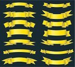 Banner,Yellow,Ribbon,Pennant,Gold Colored,Ribbon,Set,Vector,Angle,Design Element,Scroll,Ornate,Collection