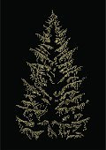 Christmas Tree,Christmas,Tree,Gold Colored,Illuminated,Vector,Night,Holiday,Spotted,Art,Star Shape,Dark,Ilustration,Symbol,Vertical,Holidays And Celebrations,Christmas,Nature,Winter,Conceptual Symbol,No People,Copy Space,Full Frame,Illustrations And Vector Art