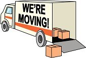 Moving Office,Moving House,Truck,Speech,New,Box - Container,Business,Pick-up Truck,Direction,Changing Form,Unloading,Loading,Packing,Gate,Wheel,Yellow,Drive,Illustrations And Vector Art,Change Of Address