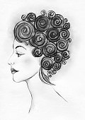 Adults Only,Adult,Young Adult,Vintage style,Vertical,Elegance,Majestic,Retro Styled,One Young Woman Only,Only Women,One Woman Only,Women,Black And White,One Person,Sketch,Human Eye,Human Lips,Human Neck,Beauty,Beautiful Woman,Beautiful People,Illustration,People,Fashion,Art Product,Human Body Part,2015,Eye,Watercolor Painting,Portrait,Human Hair,Classical Style,Photography,Arts Culture and Entertainment,Witch,Human Face,Profile View,Stage Make-Up,Curly Hair,Earring,White Color,Hairstyle,Black Color,Brown Hair