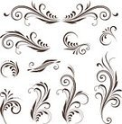 Curve,Spiral,Scroll Shape,Swirl,Design Element,Vector,Leaf,Set,Ornate,Black And White,Old-fashioned,Abstract,Retro Revival,Curled Up