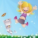 Jumping,Little Girls,Child,Domestic Cat,Teenage Girls,Cartoon,Vector,Laughing,Joy,Happiness,Ecstatic,Cheerful,Freedom,Pets,Teenager,Cute,Ilustration,Energy,Butterfly - Insect,Flower,Outdoors,Springtime,Smiling,Sky,Field,Grass,Satisfaction,Sunlight,Positive Emotion,Hand Raised,Illustrations And Vector Art,Lifestyle,Concepts And Ideas,Arms Raised,Babies And Children,Vector Cartoons,Feelings And Emotions