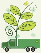 Truck,Environment,Traffic,Vehicle Trailer,Green Color,Mobile Home,Exhaust Pipe,Fumes,Vector,Pollution,Driving,Leaf,Ilustration,Illustrations And Vector Art,Modern Life,Transportation,Vector Cartoons,Concepts And Ideas,Insect,Sidecar,Wheel,Plant,Butterfly - Insect,Animal
