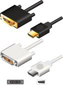 hdmi,Cable,Computer Cable,dvi,Television Set,Data,Vector,Video,Multimedia,High-definition Television,Communication,Objects/Equipment,Illustrations And Vector Art,Technology,Connection,Ilustration,Technology