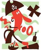 Pirate,Brigantine,Boat Captain,Map,Letter X,Rum,Treasure,Pipe,Cartoon,X Marks The Spot,Cartography,Skull and Crossbones,Bottle,Smoking Issues,Smoking,Ilustration,Smoke - Physical Structure,Planning,Characters,Vector Cartoons,Illustrations And Vector Art,Sea Dog,Pointing