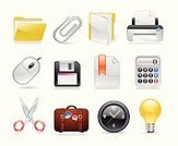 Calculator,Print,Symbol,File,Computer Mouse,Computer Icon,Light Bulb,Electric Lamp,Suitcase,Icon Set,Attached,Disk,Vector,Document,Computer Printer,Setting,Paper Clip,Scissors,Bookmark,Interface Icons,Set,Clock,Ilustration