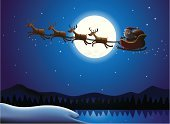 Santa Claus,Sleigh,Christmas,Reindeer,Flying,Cartoon,Moon,Snow,Deer,Characters,Bag,Vector,Sky,Backgrounds,Star - Space,Winter,Ilustration,Fun,Men,Sitting,Holiday,Mountain,Hat,White,Star Shape,Red,Design,Landscaped,Beautiful,Midnight,Holding,Christmas,Vector Backgrounds,Vector Cartoons,Holidays And Celebrations,Illustrations And Vector Art,Beauty In Nature,Happiness,December