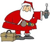 Santa Claus,Work Tool,Repairing,Christmas,Cartoon,Screwdriver,Ilustration,Beard,Holiday,Christmas,Household Objects/Equipment,People,Objects/Equipment,Box - Container,Holidays And Celebrations,Flashlight