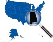 Alabama,Map,Magnifying Glass,USA,The Americas,Blue,Illustrations And Vector Art,Backgrounds,Travel Locations,Vector,Cartography,Loupe,Topography,Outline