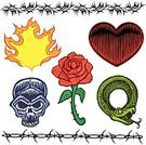 Tattoo,Rose - Flower,Human Skull,Heart Shape,Flame,Barbed Wire,Snake,Vector,Thorn,Painted Image,Ilustration,Single Flower,Reptile,Tattoo Art,Pen And Ink,Human Head