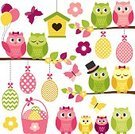 Love,Cute,Illustration,Leaf,2015,Easter,Bird,Basket,Birdhouse,Season,Branch,Owl,Tree,Fun,Vector,Multi Colored,Pink Color,Spotted,Yellow