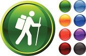 Hiking,Symbol,Computer Icon,Backpack,Outdoors,Recreational Pursuit,Walking,Summer,Vacations,Shiny,Men,Overweight,Stick Figure,Journey,Cane,Hiking Pole,Vector,Heavy,Computer Graphic,Digitally Generated Image,Sparse,People Traveling,Bag,Ilustration,White Background,Design,Purple,Modern,Black Color,Red,Orange Color,Green Color,Blue,Empty
