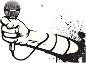 Microphone,Hip Hop,Rap,Human Hand,Music,Graffiti,Fist,Vector,City Life,Human Arm,Black And White,Ink,Paint,Isolated Objects,Illustrations And Vector Art,Lifestyle