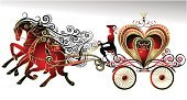 Carriage,Wedding,Horse,Horsedrawn,Heart Shape,Silhouette,Crown,Valentine's Day - Holiday,Love,Animal,Retro Revival,Movie,Ilustration,Decor,Swirl,Old-fashioned,Gold Colored,marry,Decoration,Married,People,Red,Drawing - Art Product,Honeymoon,Ornate,Color Image,Holidays And Celebrations,Animal Backgrounds,Illustrations And Vector Art,Animals And Pets,Pencil Drawing,Nature