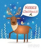 Celebration,Flower,Deer,Animal Wildlife,Cute,Holiday - Event,Horned,New Year's Eve,Christmas,Cheerful,Illustration,2015,Inviting,Invitation,Winter,Bird,Decoration,Reindeer,Snow,Fun,Vector,Party - Social Event