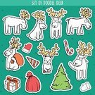 Humor,Candy,Deer,Full,Doodle,Cute,Christmas,Full,Illustration,Human Body Part,2015,Run,Winter,Running,Christmas Tree,Decoration,Reindeer,Gift,Season,Looking,Santa Claus,Tree,Decor,Vector,Drawing - Art Product,Human Face,Label,Bag,Sitting,Greeting,Red,Standing