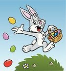 Easter,Easter Bunny,Rabbit - Animal,Cartoon,Baby Rabbit,Easter Egg,Running,Eggs,Cheerful,Happiness,Basket,Springtime,Giving,Cute,Season,Throwing,Holiday,Vector Cartoons,Holiday Symbols,Holidays And Celebrations,Illustrations And Vector Art,Easter