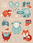Creativity,Humor,Computer Graphics,Background,Ornate,Christmas,Cheerful,Collection,Snowflake,Hello,Illustration,Symbol,2015,Raccoon,Winter,Computer Graphic,Welcome,Season,Backgrounds,Paintings,Owl,Santa Claus,Fun,Decor,Vector,Badger,Sock