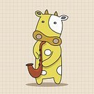 Animal,Cute,Guitar,Cow,Orchestra,Illustration,Zoo,2015,Trumpet,Backgrounds,Musician,Fun,Vector