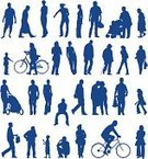 Silhouette,People,Women,Bicycle,Outline,Child,Routine,Men,Variation,Group of Objects,Vector,Abstract,Individuality,Group Of People,Little Girls,Shape,Collection,Little Boys,Large Group of Objects,Set,Large Group Of People,Ilustration,Computer Graphic,Style,Design Element