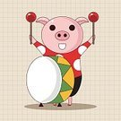 Animal,Cute,Guitar,Orchestra,Illustration,Zoo,2015,Trumpet,Backgrounds,Musician,Fun,Vector,Pig