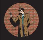 Gangster,Police Force,Fedora,Film Noir Style,Trench Coat,Cartoon,Crime,Gun,Handgun,Brick,Weapon,Feelings And Emotions,Vector Cartoons,People,Concepts And Ideas,P I,Illustrations And Vector Art