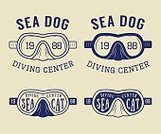 66327,Retro Styled,Scuba Diving,Equipment,Face Guard - Sport,Diving Into Water,Illustration,Underwater Diving,2015,Hobbies,Insignia,Nautical Vessel,Vector,Design,Label,Badge