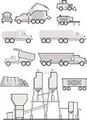 Dump Truck,Cement,Truck,Concrete,Pipe - Tube,Tanker,Construction Industry,Industry,Loading,Rock - Object,Illustrations And Vector Art