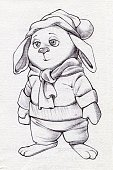 Vertical,Animal,Cute,Baby Rabbit,Illustration,Symbol,2015,Rabbit - Animal,Winter,Drawing - Activity,Young Animal,Animal Body Part,Pencil Drawing,Animal Head,Design,Clothing,Hat,Fluffy