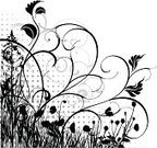 Poppy,Creeper Plant,Meadow,Grass,Flower,Black And White,Silhouette,Floral Pattern,Growth,Halftone Pattern,Angle,Herb,Plant,Bush,Ornate,Scroll Shape,Stem,Springtime,Swirl,Glade,Botany,Bud,Branch,Nature,Old-fashioned,Strawflower,Design Element,Foliate Pattern,Beauty In Nature,Summer,Leaf,Curled Up,Natural Pattern