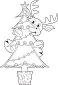 Christmas,Outline,Reindeer,Christmas Tree,Tree,Black And White,Cartoon,Moose,Funky,Line Art,Christmas Decoration,Vector,Christmas Ornament,Climbing,Antler,Cute,Digitally Generated Image,Ilustration,Clip Art,Computer Graphic,Fun,Gripping,Holidays And Celebrations,Holding,Smiling,Vector Cartoons,Animals And Pets,Wildlife,Illustrations And Vector Art,Star Shape,Characters,Christmas,One Animal,yuletide,Evergreen Tree